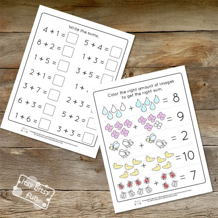 Spring Addition Kindergarten Worksheets