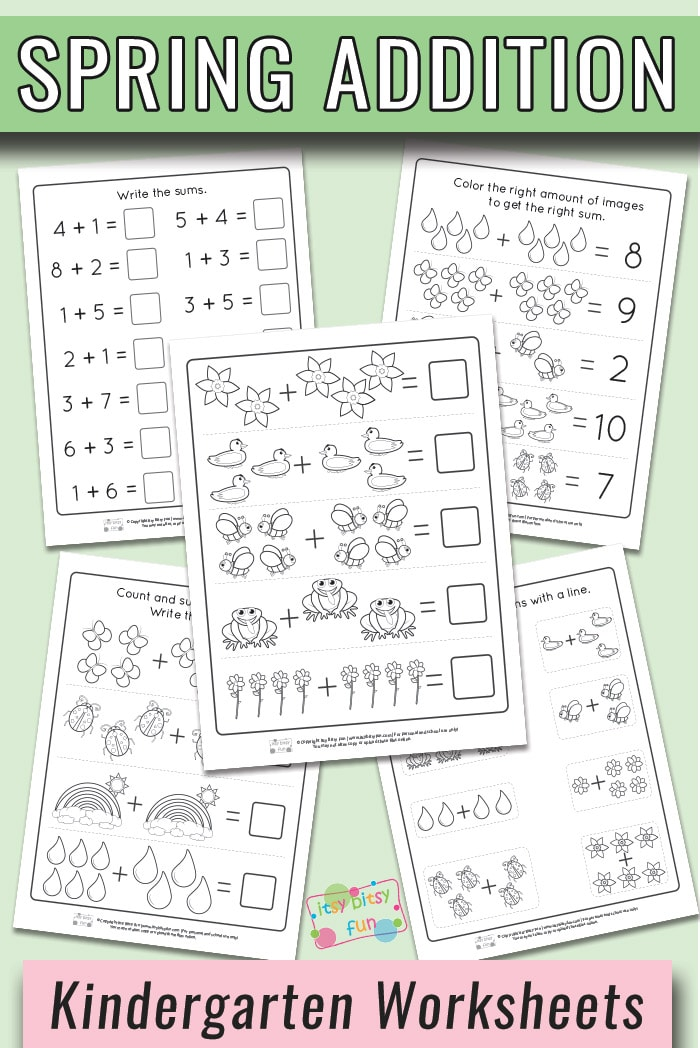Free Printable Spring Kindergarten Addition Worksheets #kindergartenmath #kindergartenworksheets #worksheetsforkindergarten