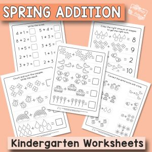 Spring Kindergarten Addition Worksheets