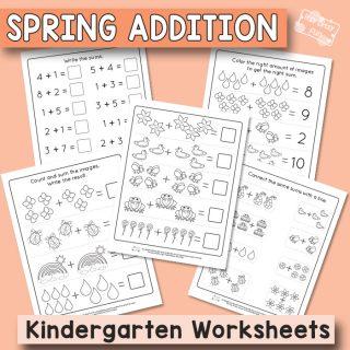Spring Addition to Ten - Kindergarten Worksheets