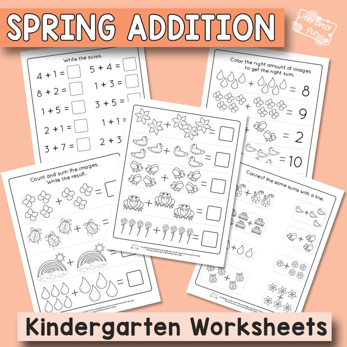 Spring Kindergarten Addition Worksheets - Itsybitsyfun.com
