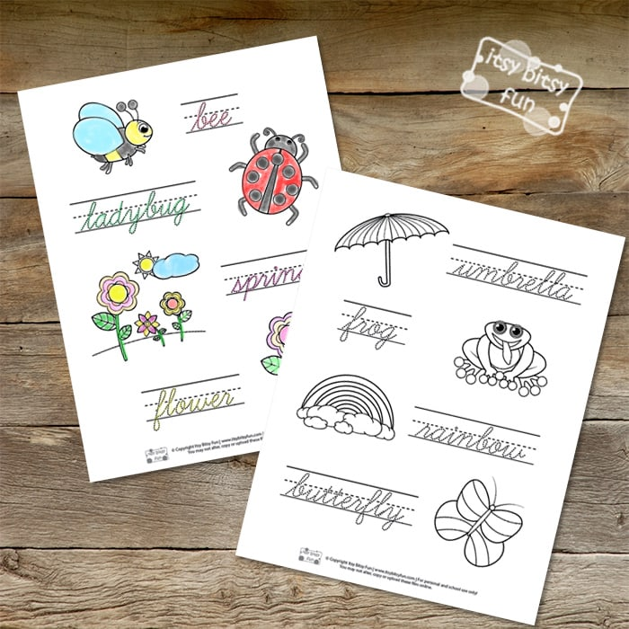 Spring Cursive Handwriting Worksheets