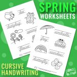 Spring Cursive Writing Worksheets