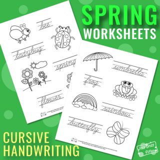 Spring Cursive Tracing Worksheets
