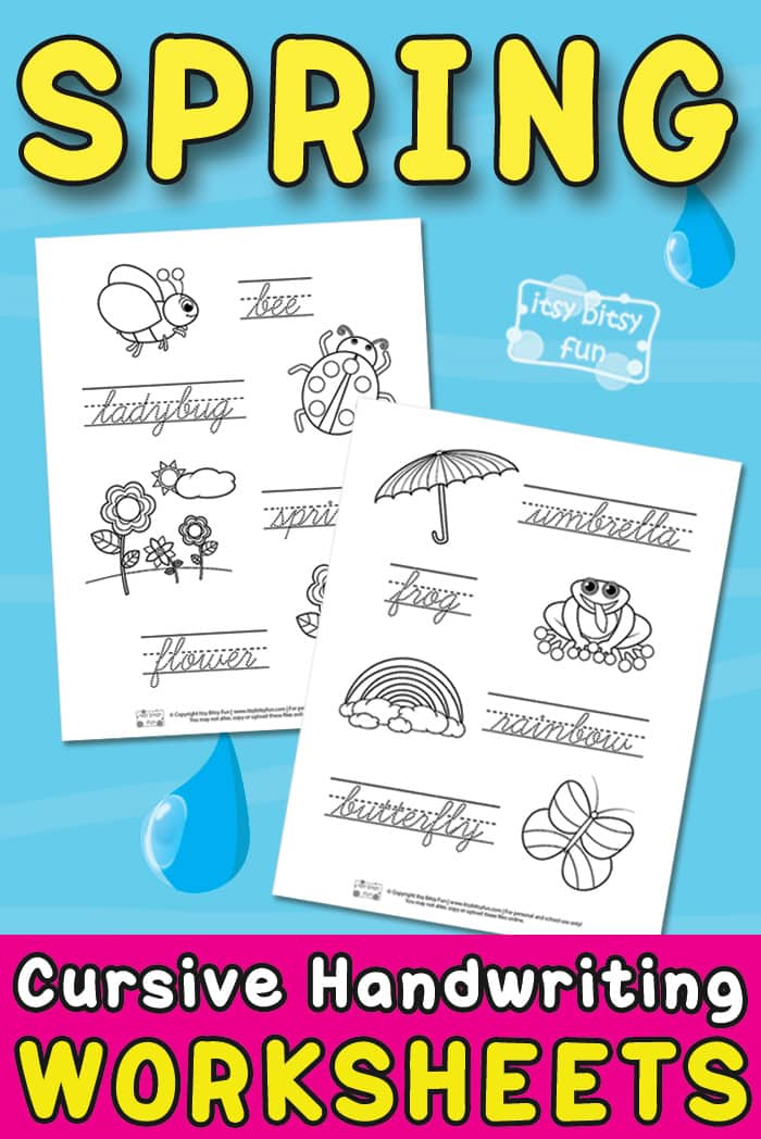 Spring Themed Free Printable Cursive Writing Worksheets for Kids #cursiveworksheet #cursive handwriting #freeprintablesforkids