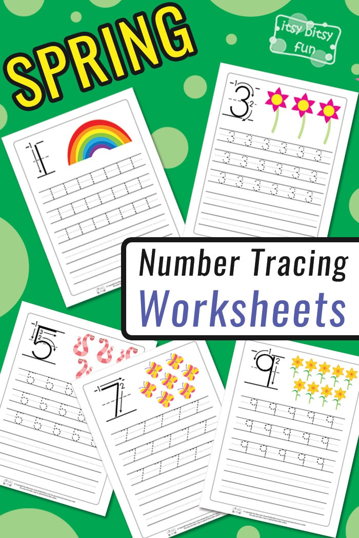Spring Number Tracing Worksheets for Kids from 1 to 10