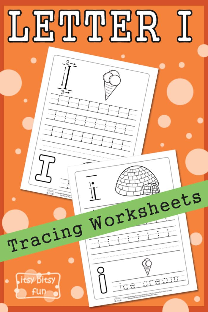 Free printable Letter I Tracing Worksheets for Kids