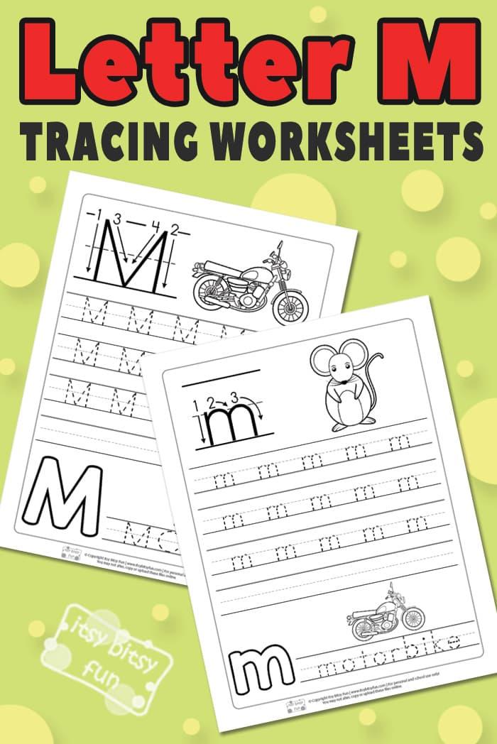 Letter M Tracing Worksheets for Kids