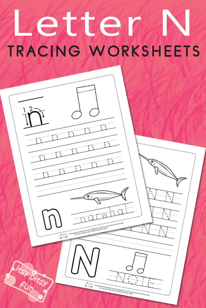 Letter N Tracing Worksheets Itsy Bitsy Fun