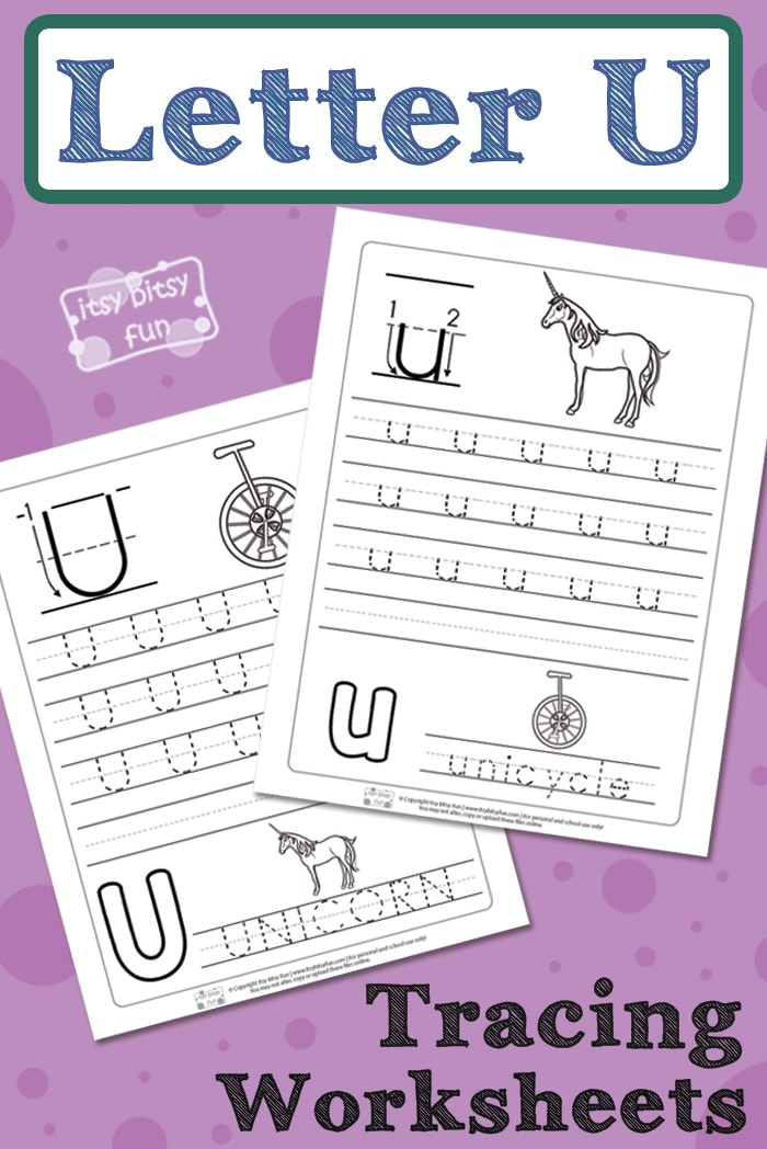 Letter U Tracing Worksheets for Kids