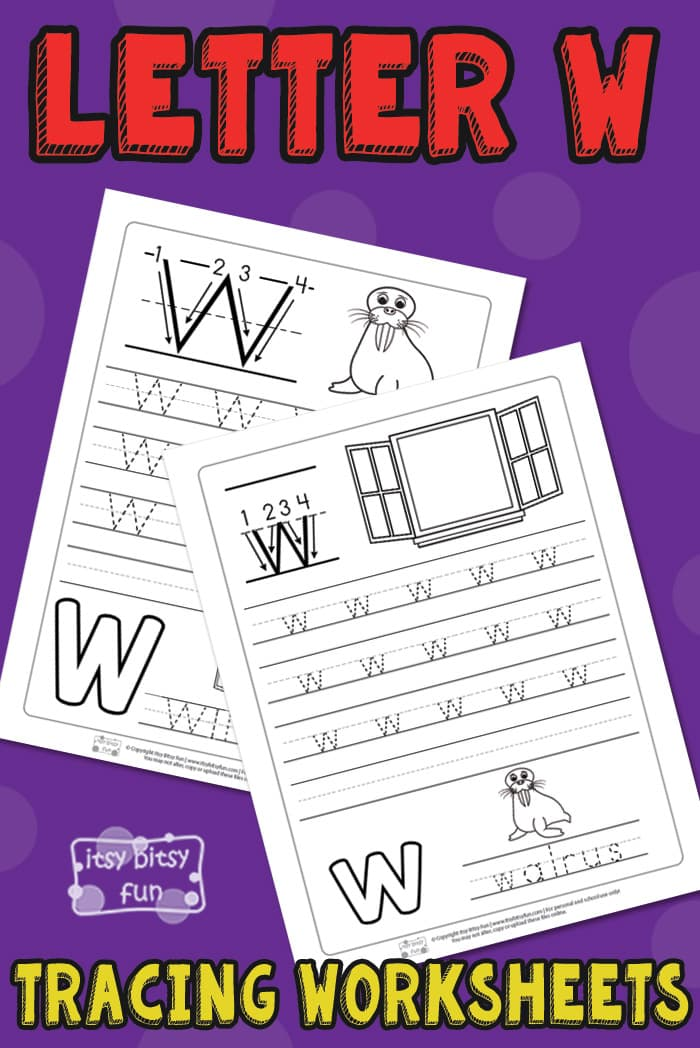 Free Printable Letter W Tracing Worksheets for Kids