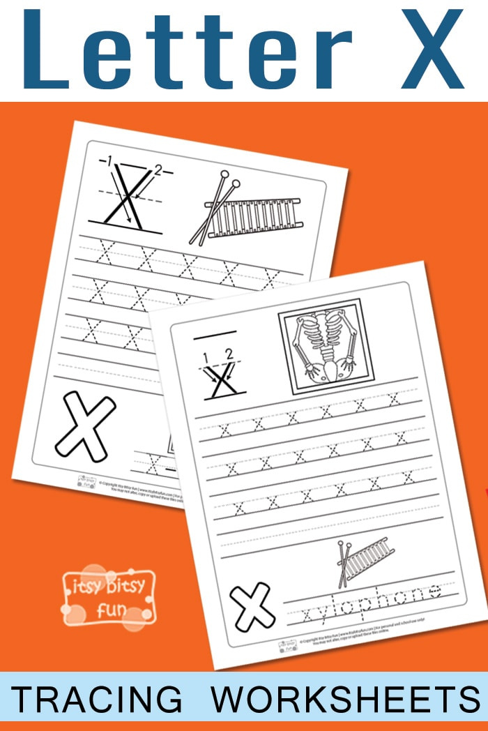Free Printable Letter X Tracing Worksheets fo Kids