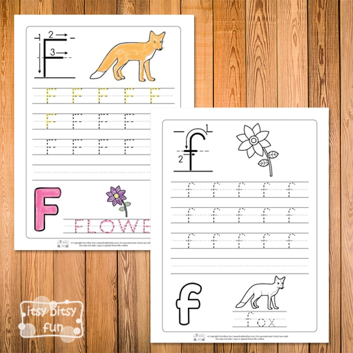 Trace the Letter F Worksheets