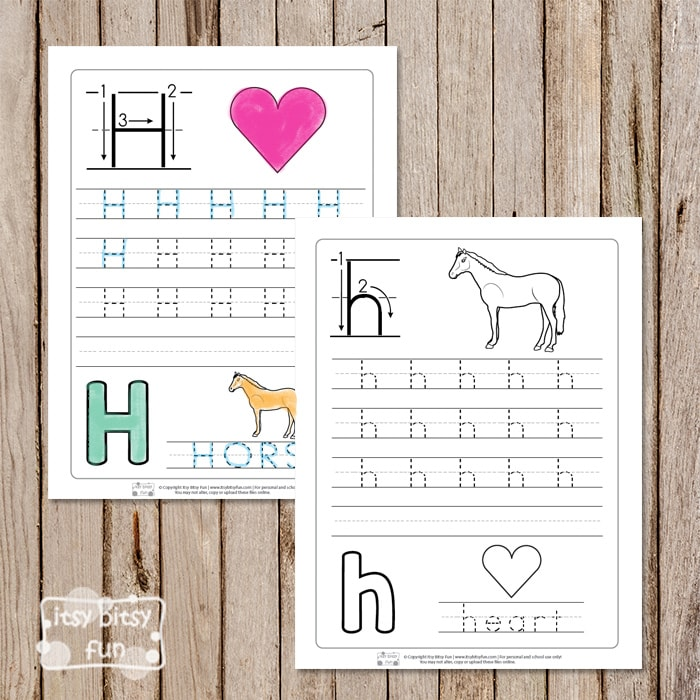 Trace the Letter H Worksheets