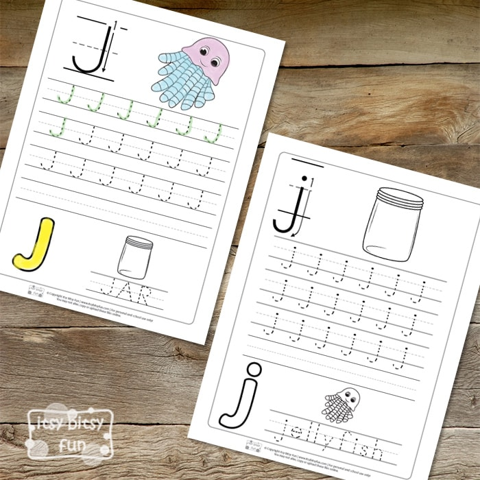 Trace the Letter J Worksheets