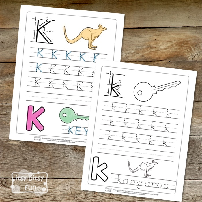 Trace the Letter K Worksheets