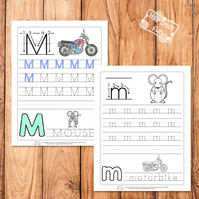 Trace the Letter M Worksheets