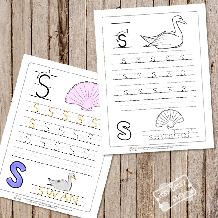 Letter S Tracing Worksheets Itsy Bitsy Fun