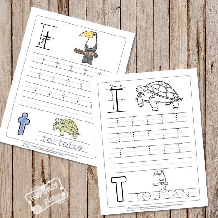 Trace the Letter T Worksheets