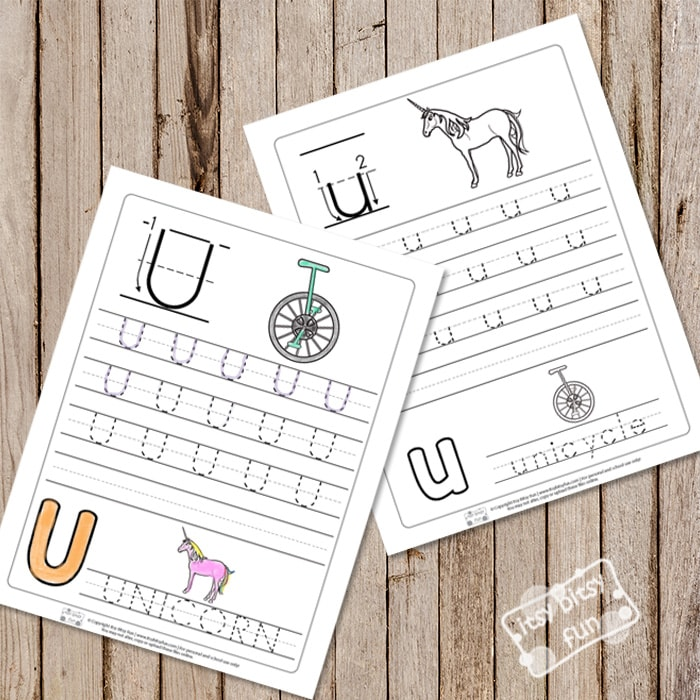 Trace the Letter U Worksheets