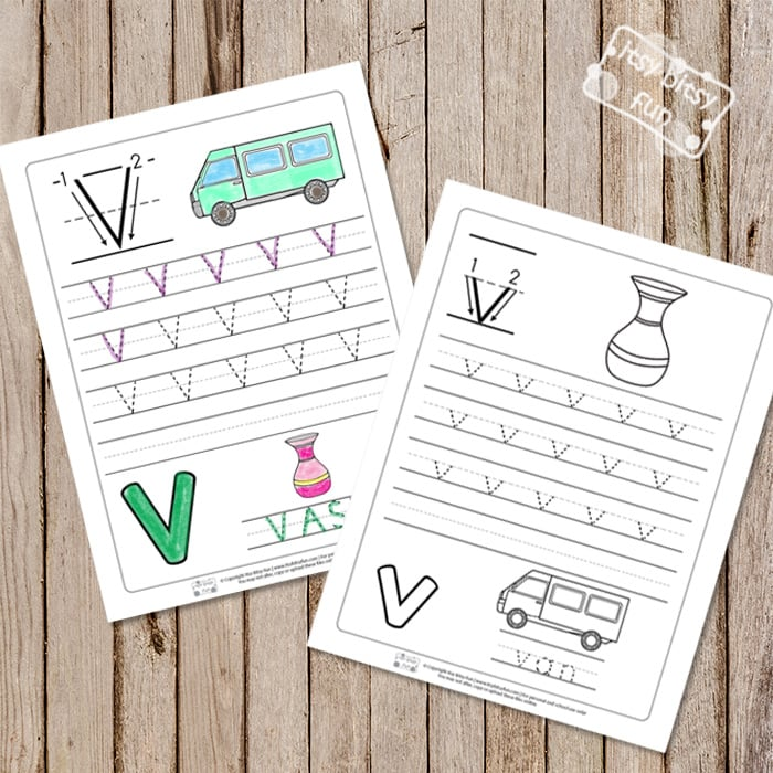 Trace the Letter V Worksheets