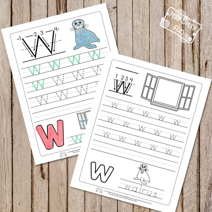 Trace the Letter W Worksheets