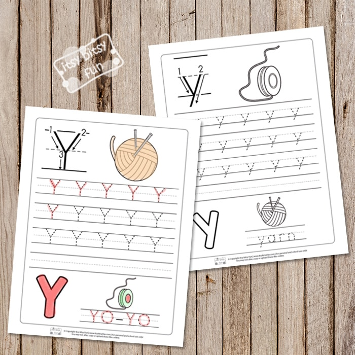 Trace the Letter Y Worksheets