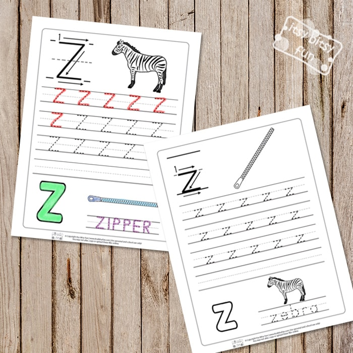 Trace the Letter Z Worksheets