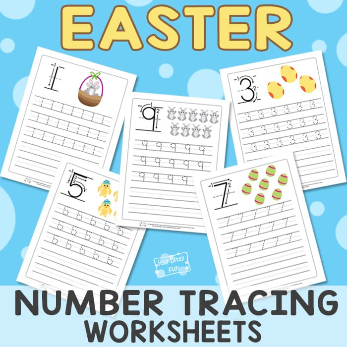 Easter Number Tracing Worksheets - Itsy Bitsy Fun