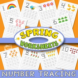 Tracing Numbers to 10 - Spring Worksheets