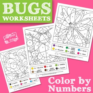 Bugs Coloring by Number Worksheets