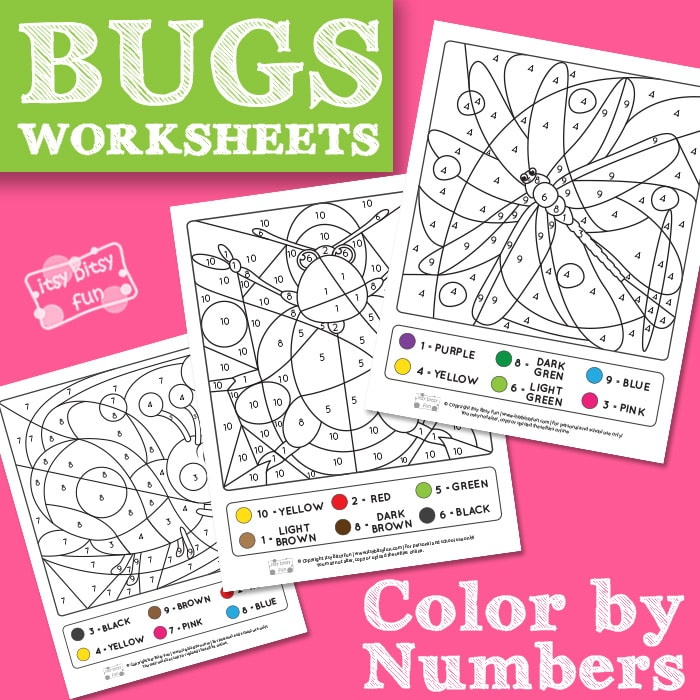 Bugs Color by Numbers from 1 to 10 Worksheets