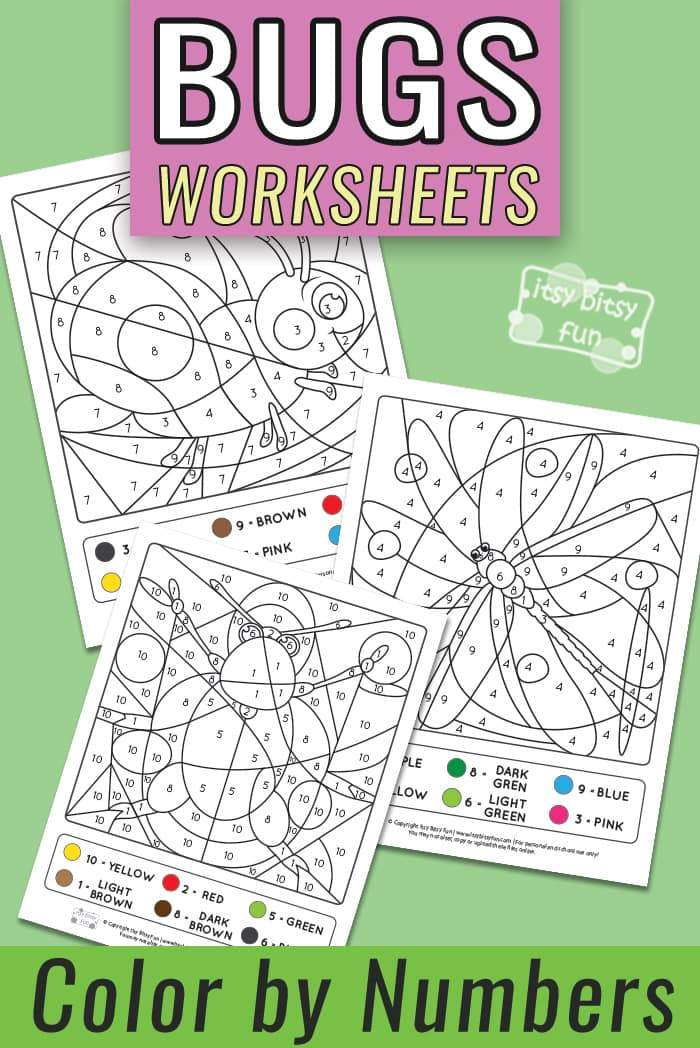 Color by Number - Bugs Worksheets - Numbers to 10