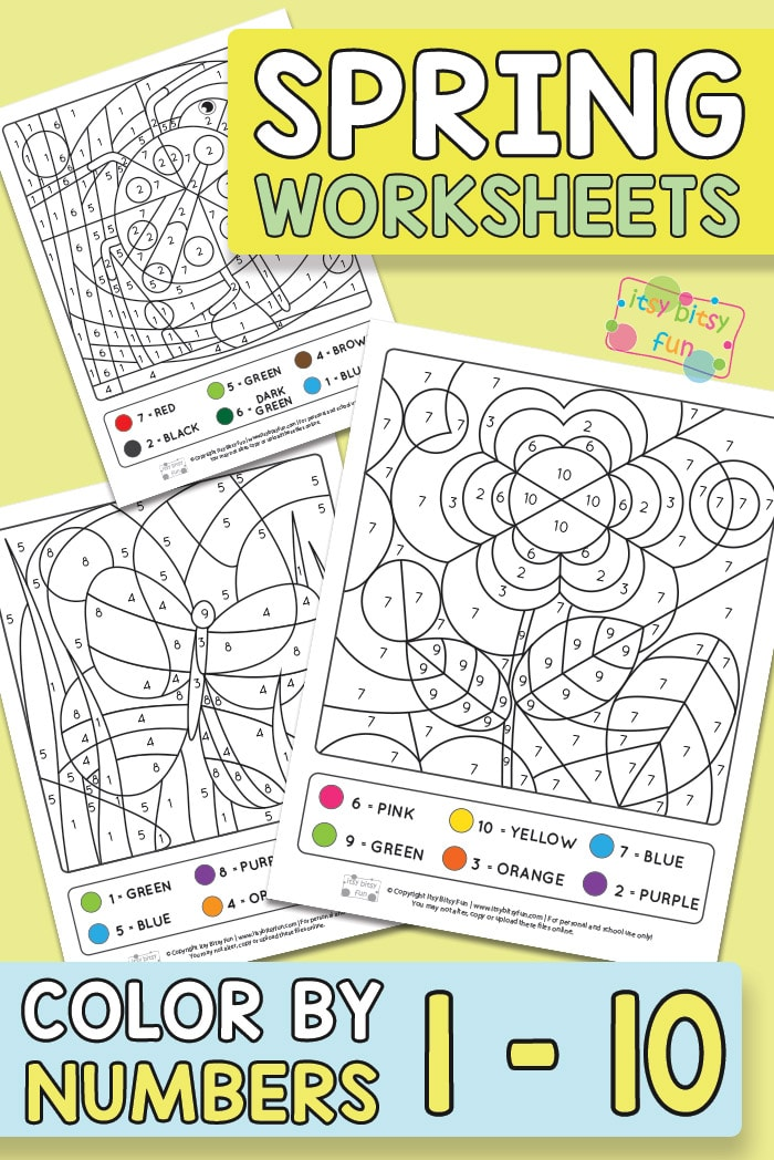 Spring Coloring by Number Worksheets - Itsy Bitsy Fun