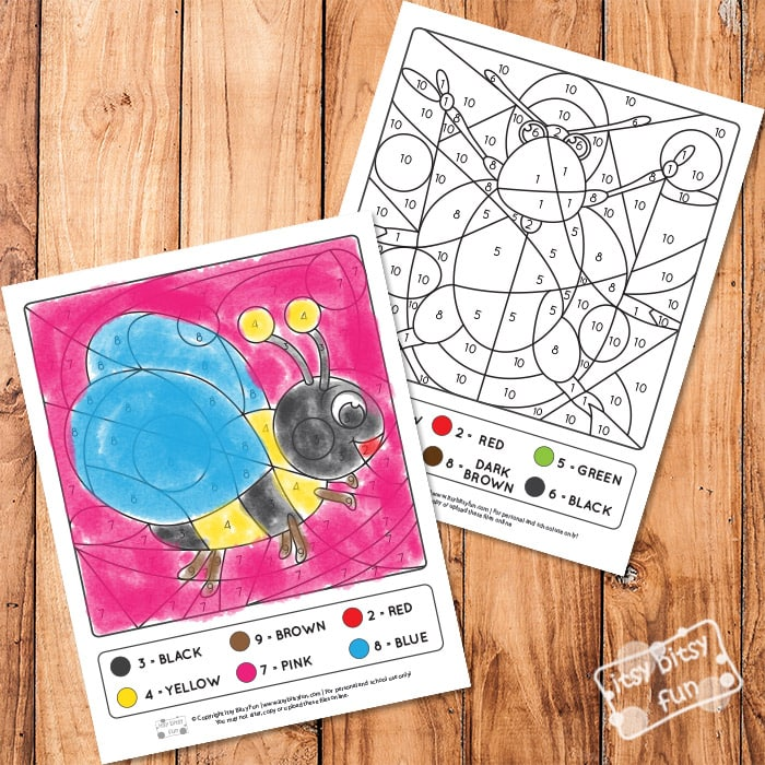 Color by Numbers - Bugs Worksheets with Numbers to 10