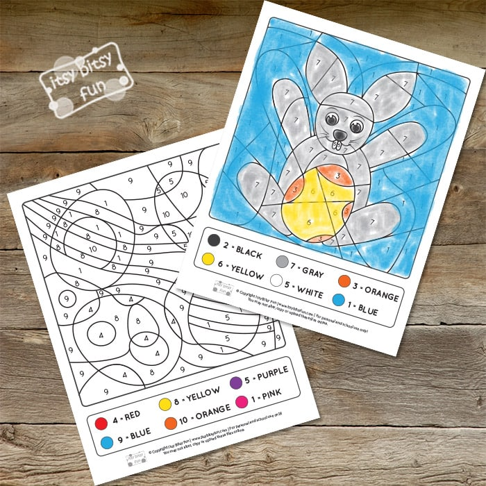 Color by Numbers - Easter Worksheets with Numbers to 10