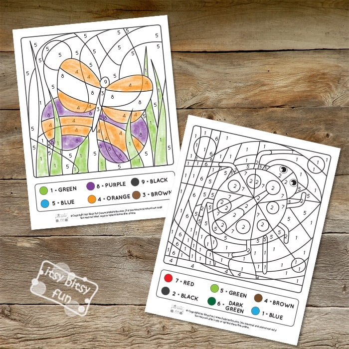 Color by Numbers - Spring Worksheets with Numbers to 10