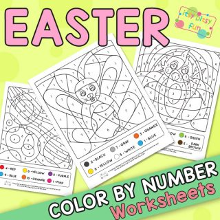 Easter Color by Numbers from 1 to 10 Worksheets