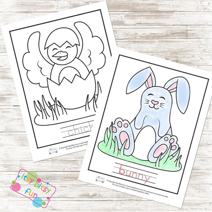 Easter Coloring Pages and Word Tracing Worksheets