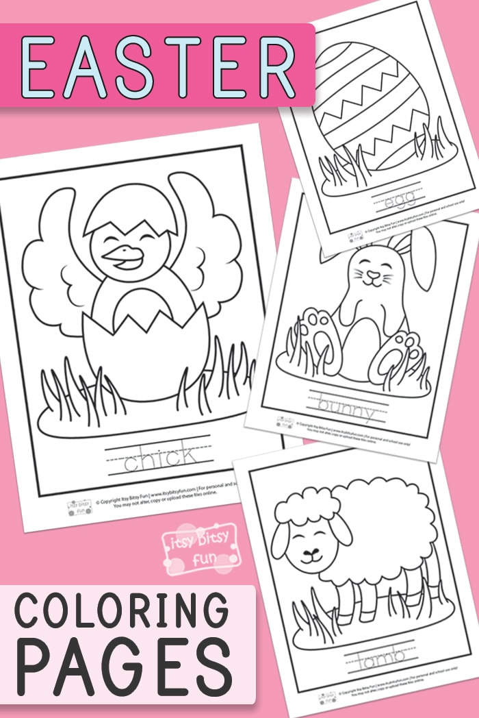 Easter Coloring Pages with Tracing Words
