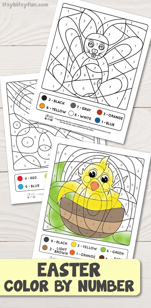Easter Coloring by Number Worksheets for kids #colorbynumber #worksheetsforkids #freeprintablesforkids