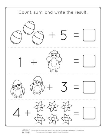 Easter Kindergarten Addition Worksheets Page 1