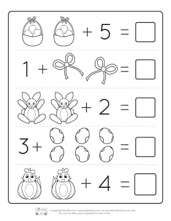 Easter Kindergarten Addition Worksheets Page 2