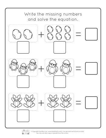 Easter Kindergarten Addition Worksheets Page 3