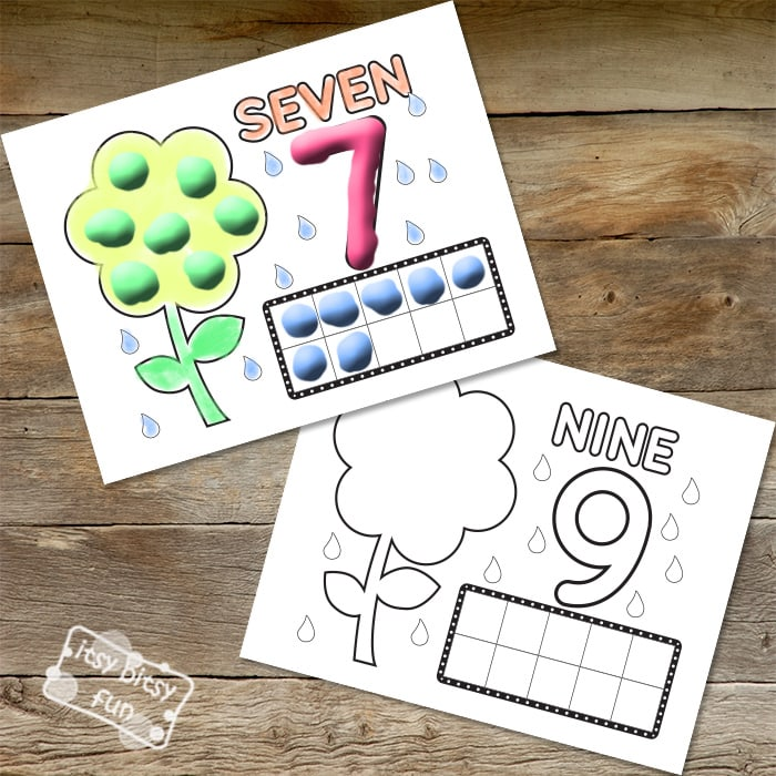 Printable Spring Play-Doh Mats - Numbers to 10
