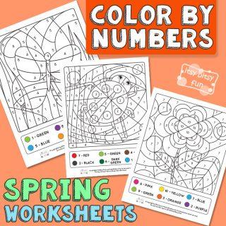 Spring Coloring by Number Worksheets