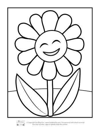 Flower coloring pages for kids itsy bitsy fun a single smiling flower mightylinksfo