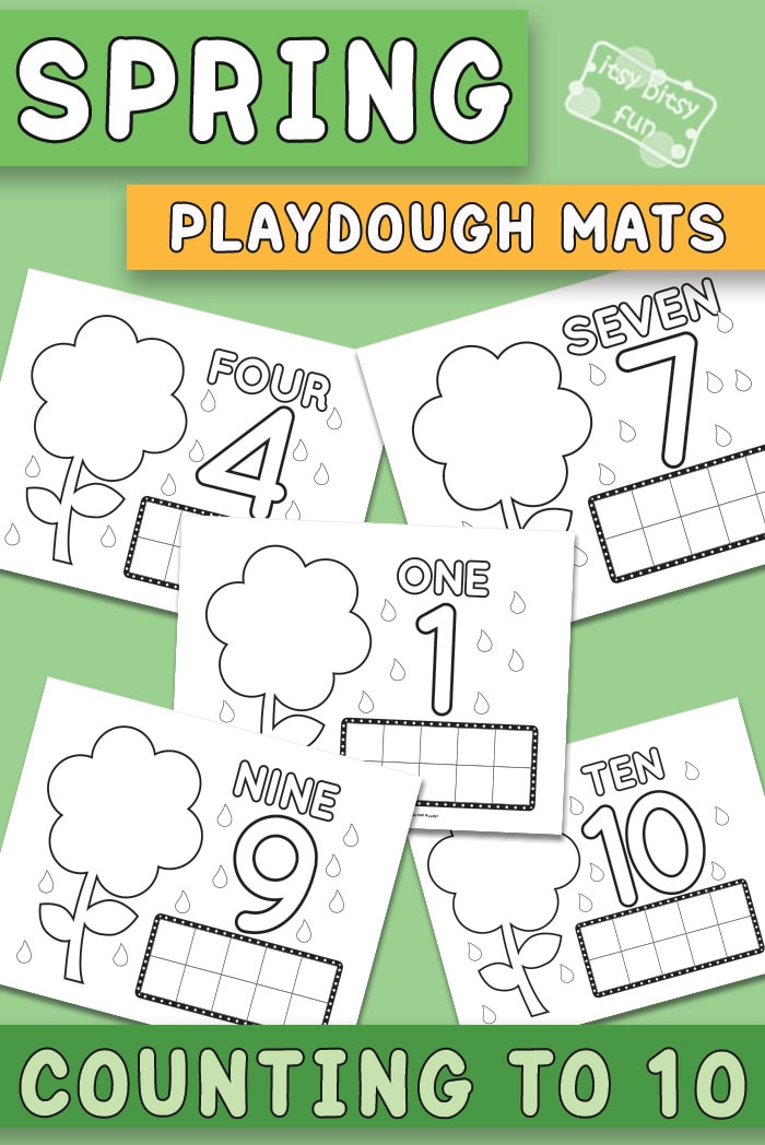 Spring Play Dough Mats Counting to 10 Printables for Kids
