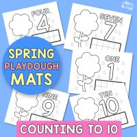 Spring Playdough Mats – Counting to 10