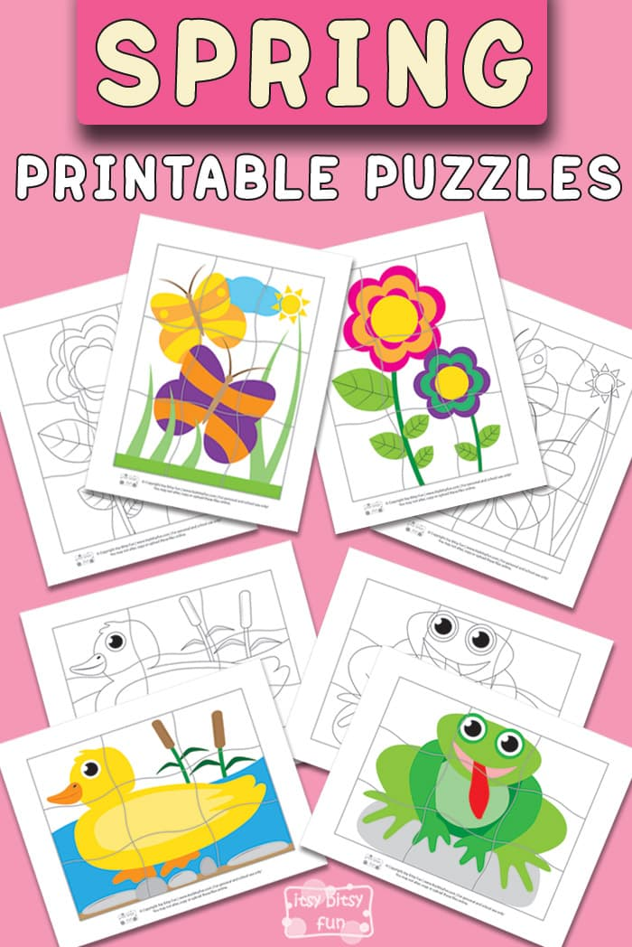 photograph relating to Puzzles for Kids Printable referred to as Spring Printable Puzzles for Small children - Itsy Bitsy Exciting